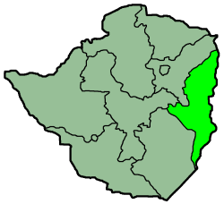 Map of Zimbabwe with the province highlighted