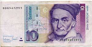 A 10   from  1993 showing Carl Friedrich Gauss (http://www.germannotes.com)