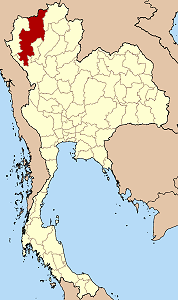 Map of Thailand highlighting Chiang Mai Province
