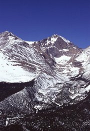 Snowpack accumulation at 14,255 ft. on Longs Peak in Rocky Mountain National Park (photo courtesy of USDA).