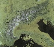 The European Alps from space in May 2002. Click on the picture for a large annotated version