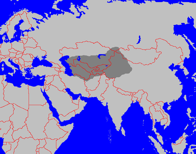 Map of Turkestan (dark grey) with borders of modern states in red